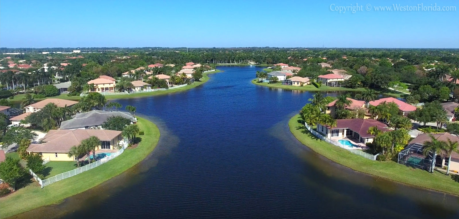 Amazing aerial view of Weston Florida